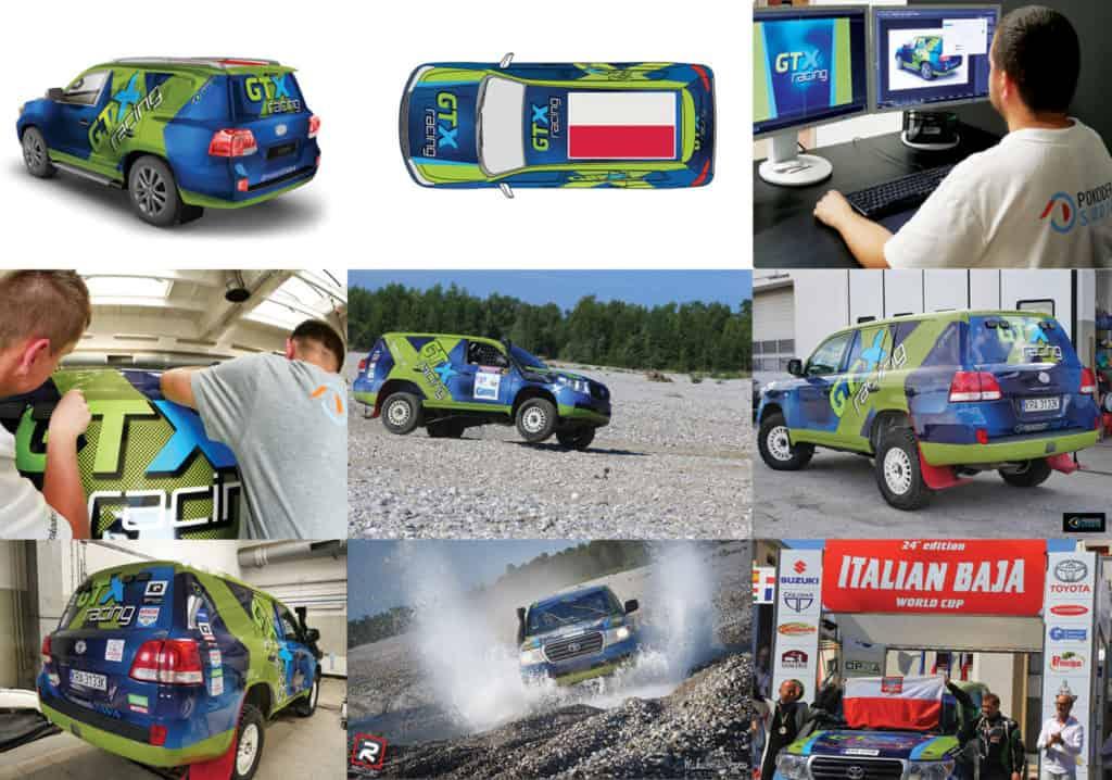 Projekt ioklejenie samochodu rajdowego dla GTX Racing