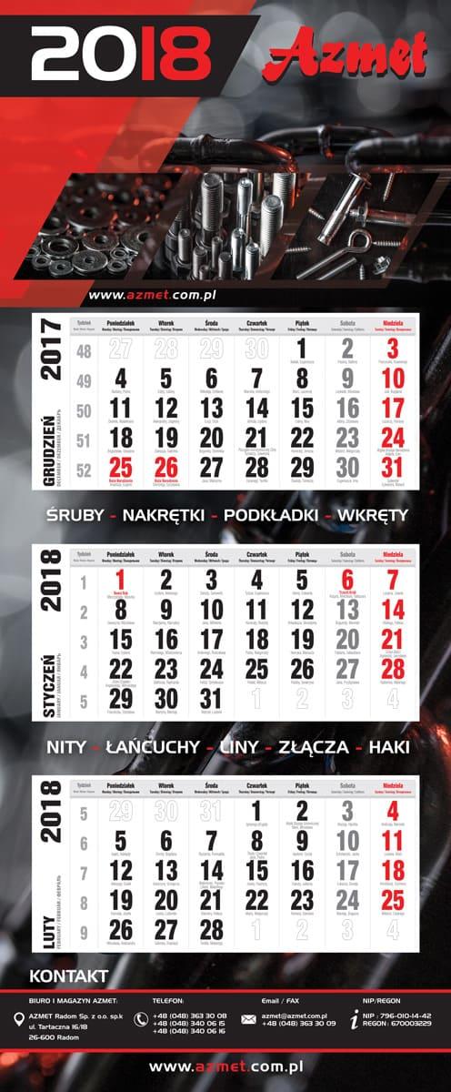 Kalendarz Trójdzielny dla Azmet Radom - projekt graficzny idruk