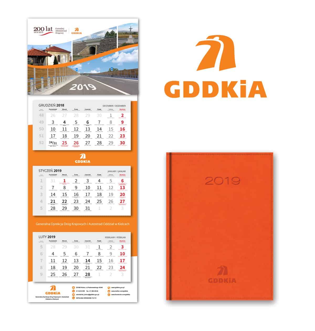 Projekt graficzny idruk kalendarzy dla GDDKiA
