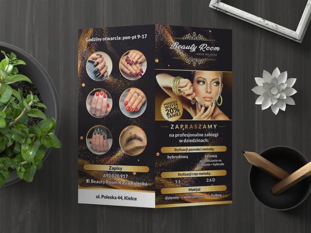 Projekt graficzny iwydruk ulotek dla Beauty Room