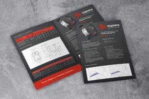 Ulotki projekt graficzny pomp elektronicznych Suprera Circa