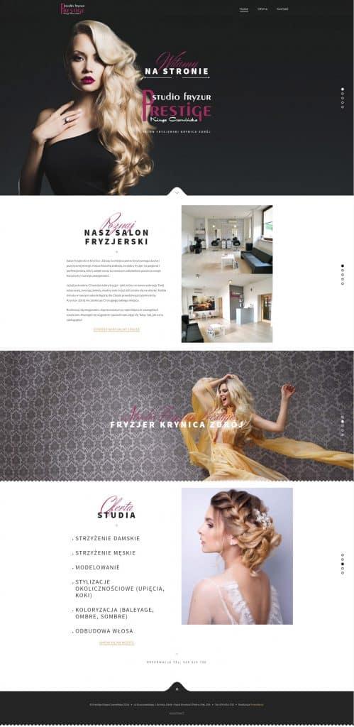 Strona internetowa dla salonów fryzjerskich